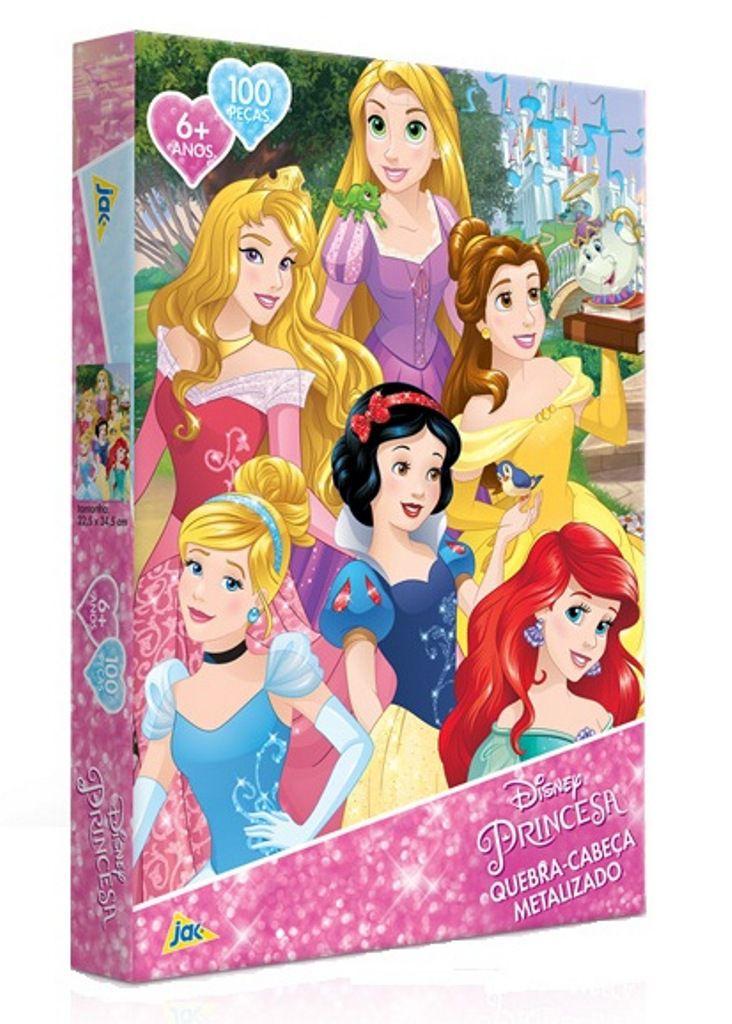 Quebra-cabeça Metalizado Disney Princesa 100 Peças - Jak