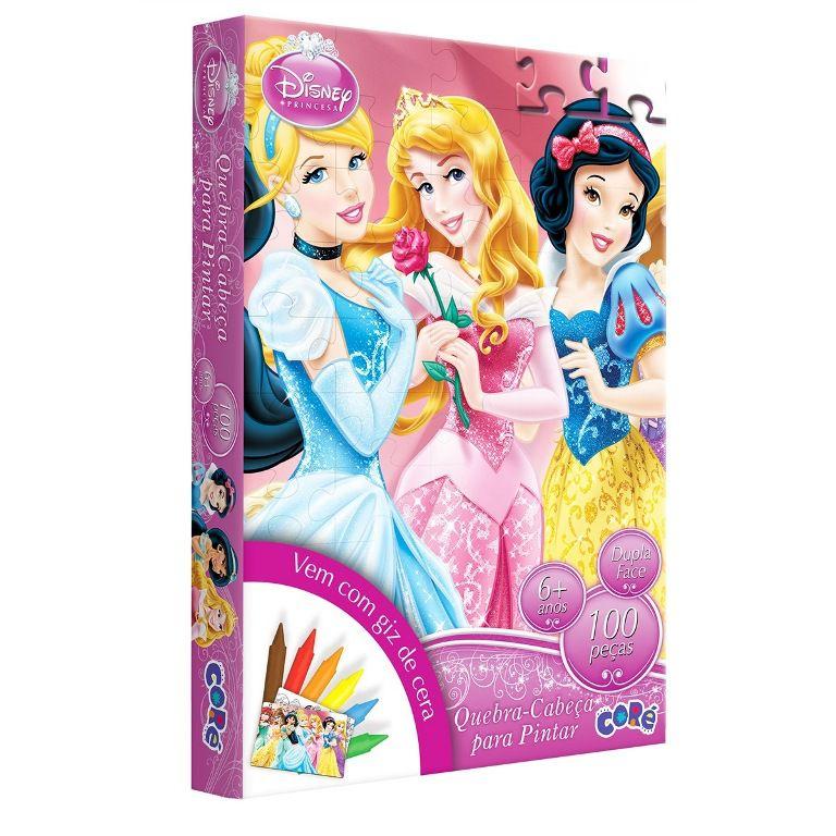 Quebra-cabeça Para Pintar Princesas Disney 100 Peças - Toyster