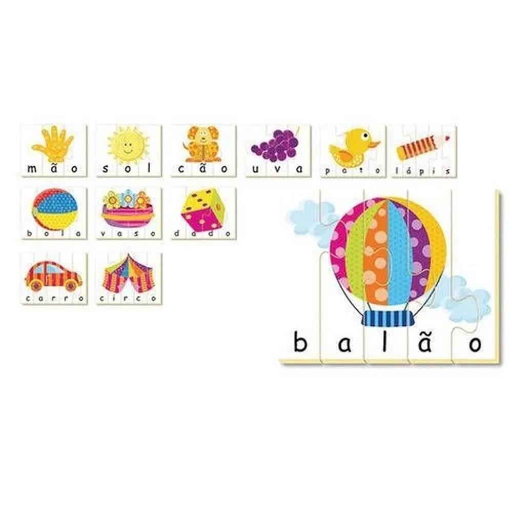 Quebra-cabeça Vamos Soletrar 48 Peças em Madeira - Brincadeira de Criança