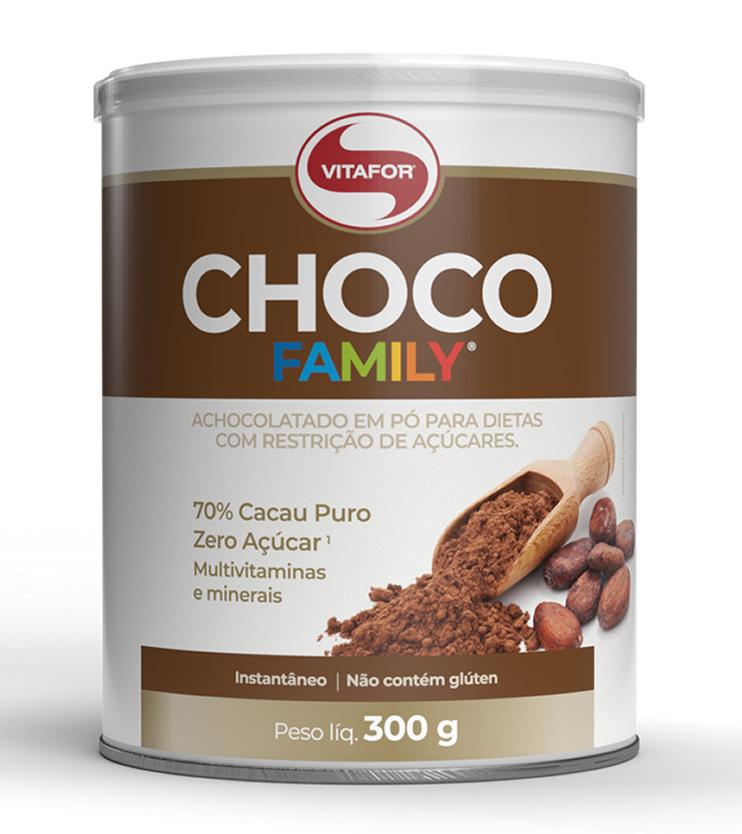 Achocolatado CHOCO FAMILY 70% cacau e Zero açúcar 300g - Vitafor