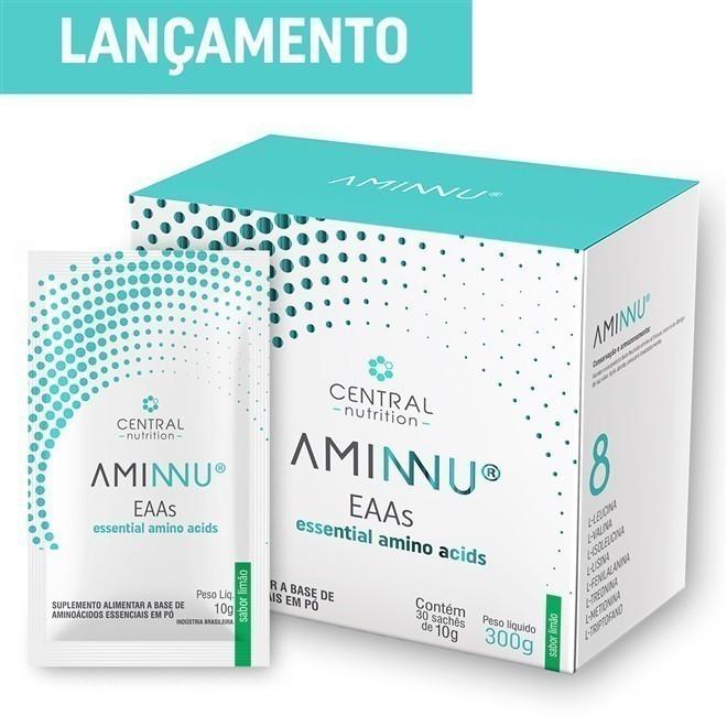 AMINNU Limão 10g com 30 sachês Suplemento Alimentar a base de Aminoácidos Essenciais - Central Nutrition