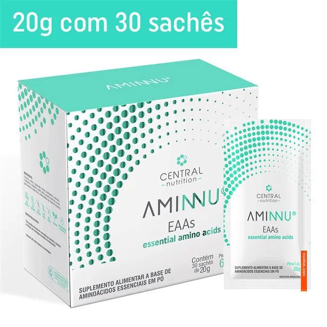 AMINNU Tangerina 20g com 30 sachês Suplemento Alimentar a base de Aminoácidos Essenciais - Central Nutrition