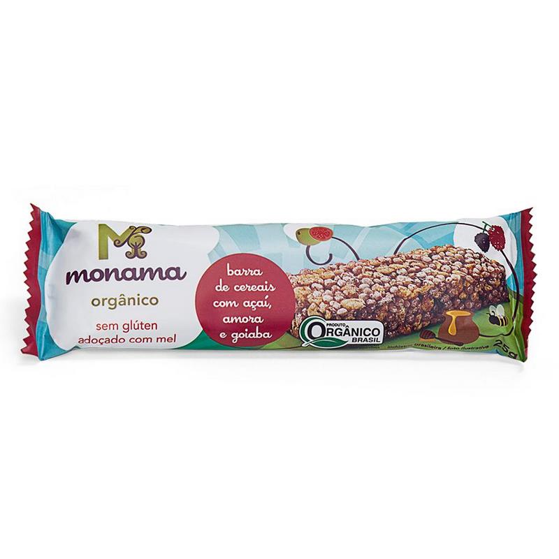 Barra de cereal Orgânica Açaí, Amora e Goiaba 25g - Monama