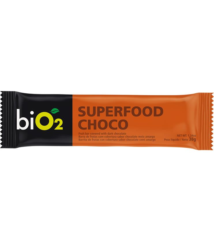 Barra de frutas, sementes, castanhas e chocolate meio amargo Superfood Bar Choco 38g - biO2