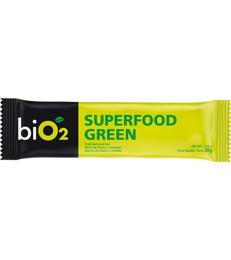 Barra de frutas, sementes, castanhas e chocolate meio amargo Superfood Bar Green 38g - biO2
