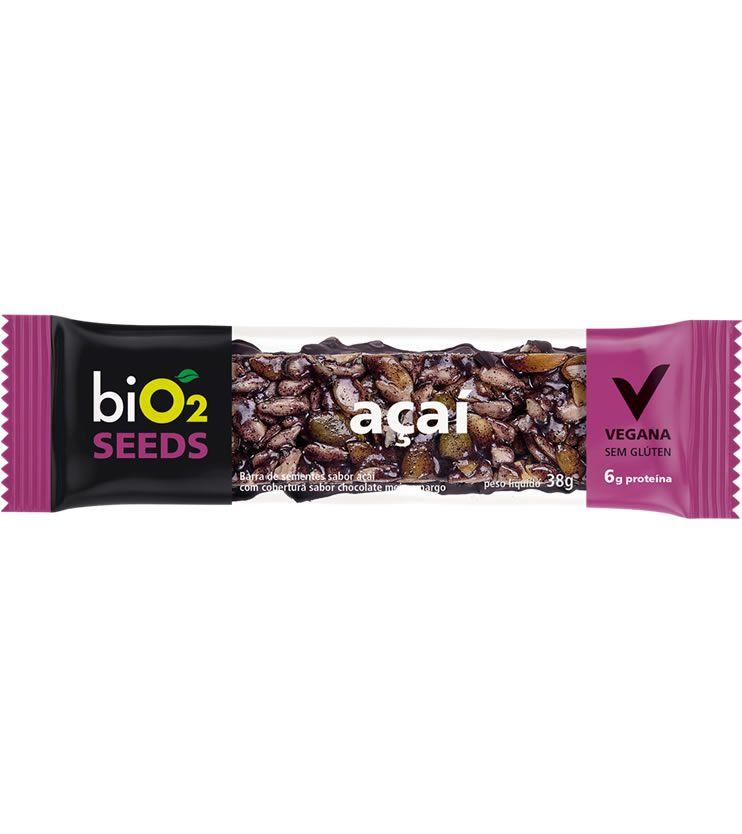 Barra de Sementes sabor Açaí com cobertura sabor chocolate meio amargo 38g - biO2