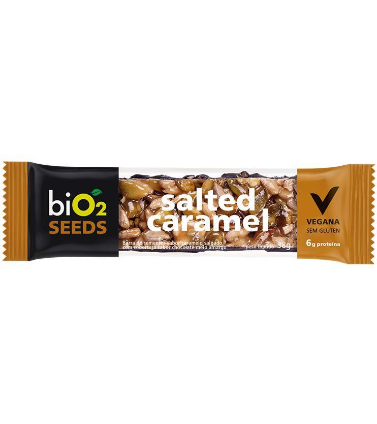 Barra de Sementes sabor Caramelo salgado com cobertura sabor chocolate meio amargo 38g - biO2