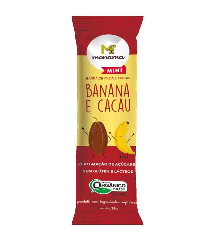 Barrinha de Aveia, Banana e Cacau Orgânica 25g - Monama Mini