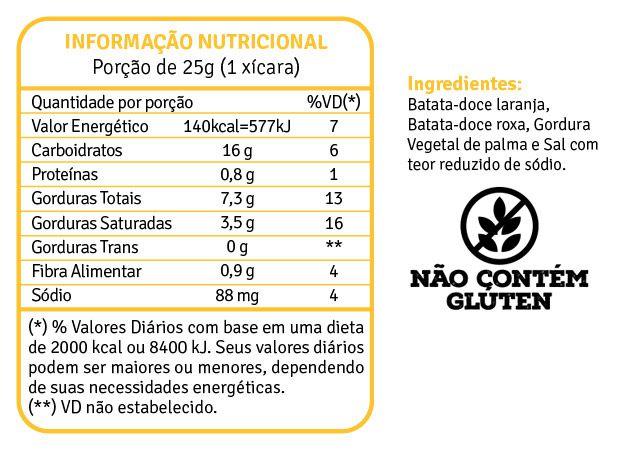 Batata Doce Chips Laranja e Roxa 45g - fhom