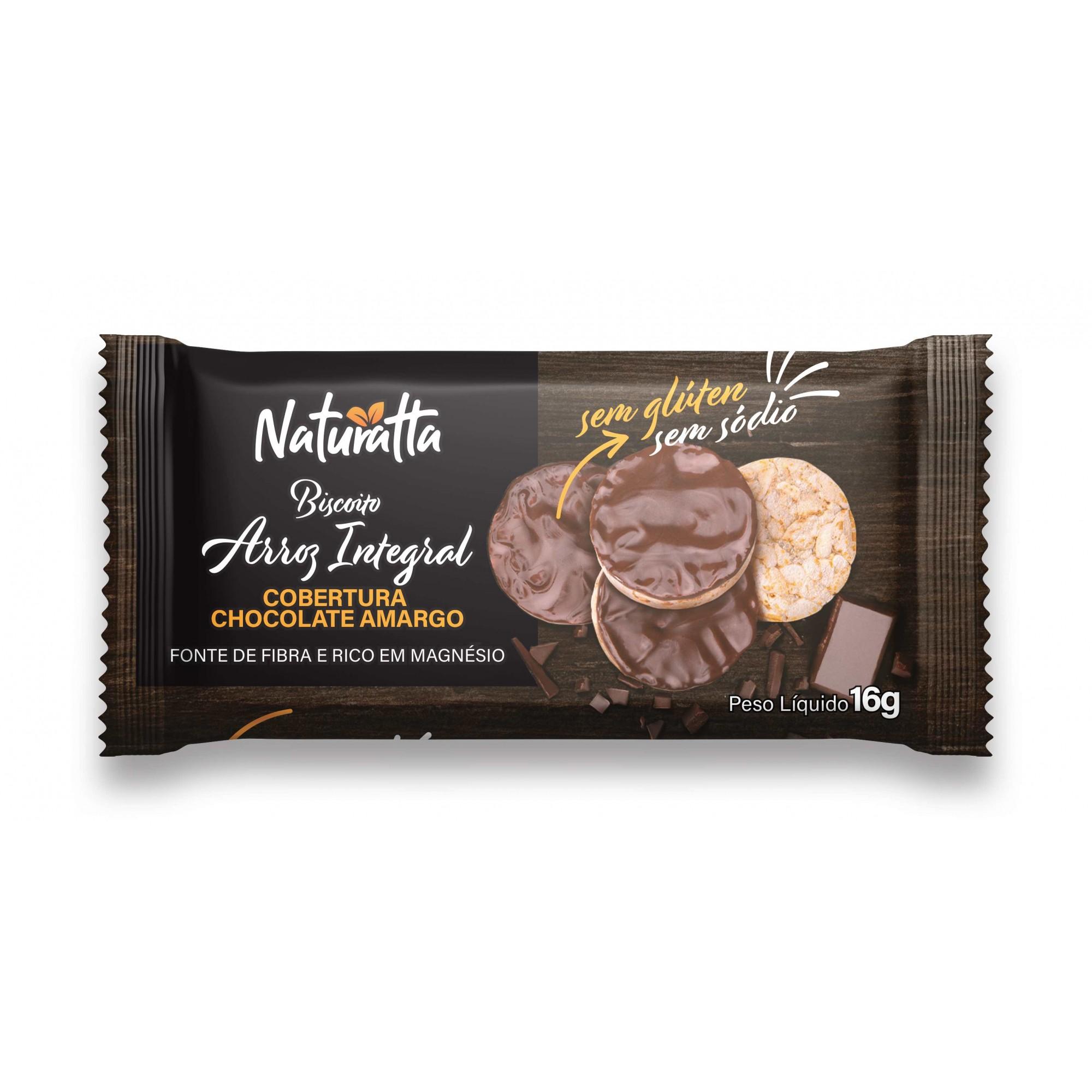 Biscoito de Arroz com Chocolate Amargo 16g - Naturatta