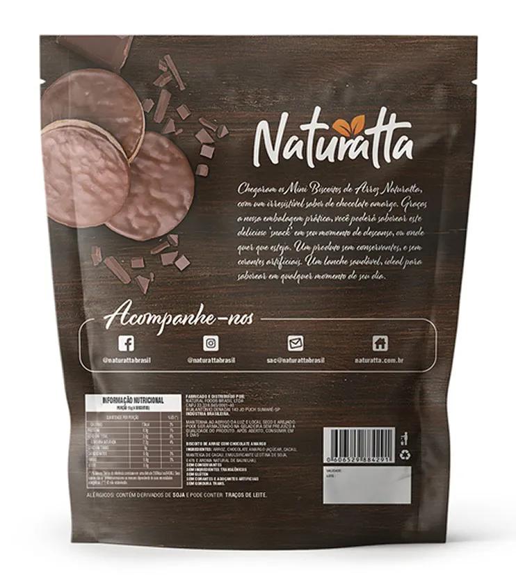 Biscoito de Arroz com Chocolate Amargo 60g - Naturatta