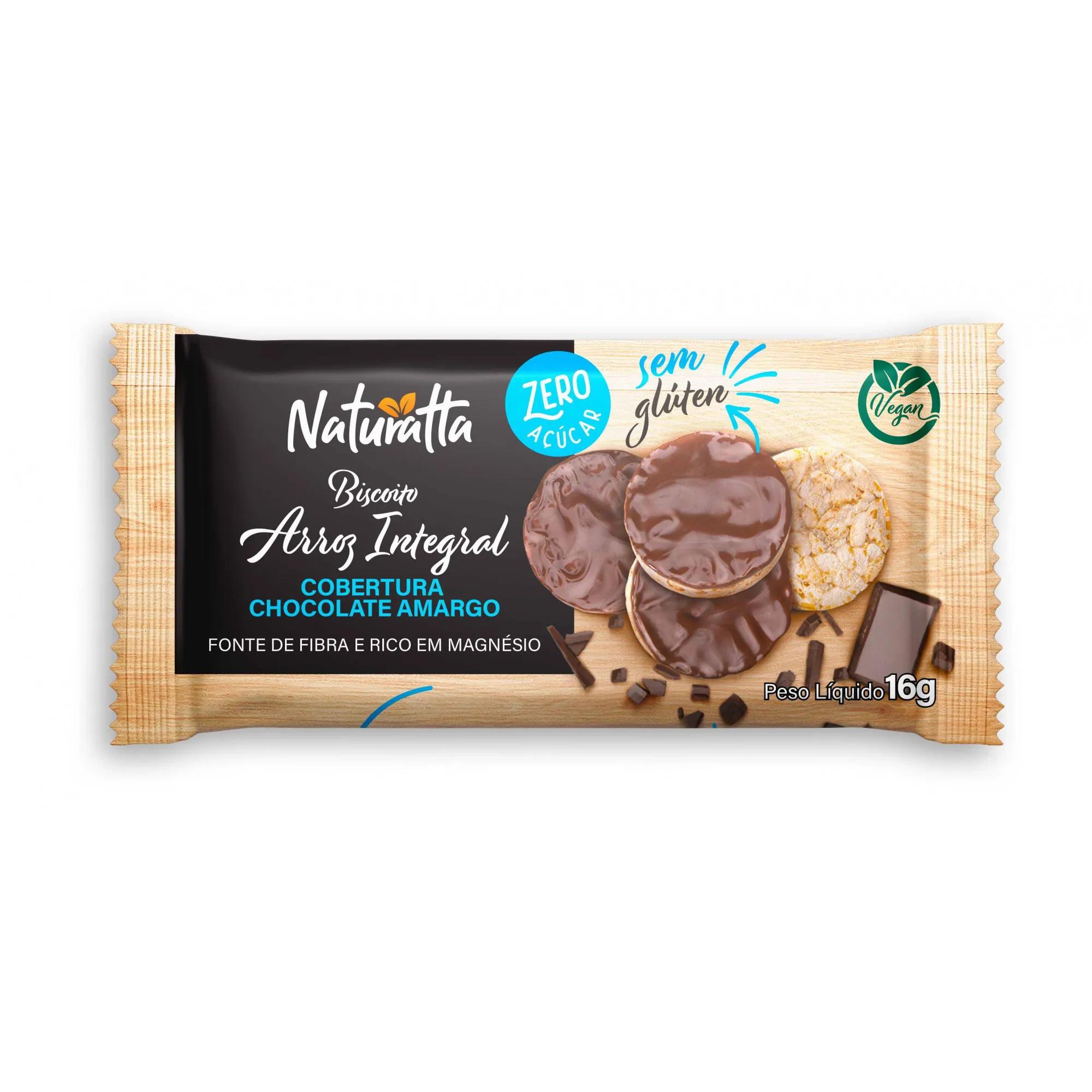 Biscoito de Arroz integral com Chocolate Amargo Zero açúcar 16g - Naturatta