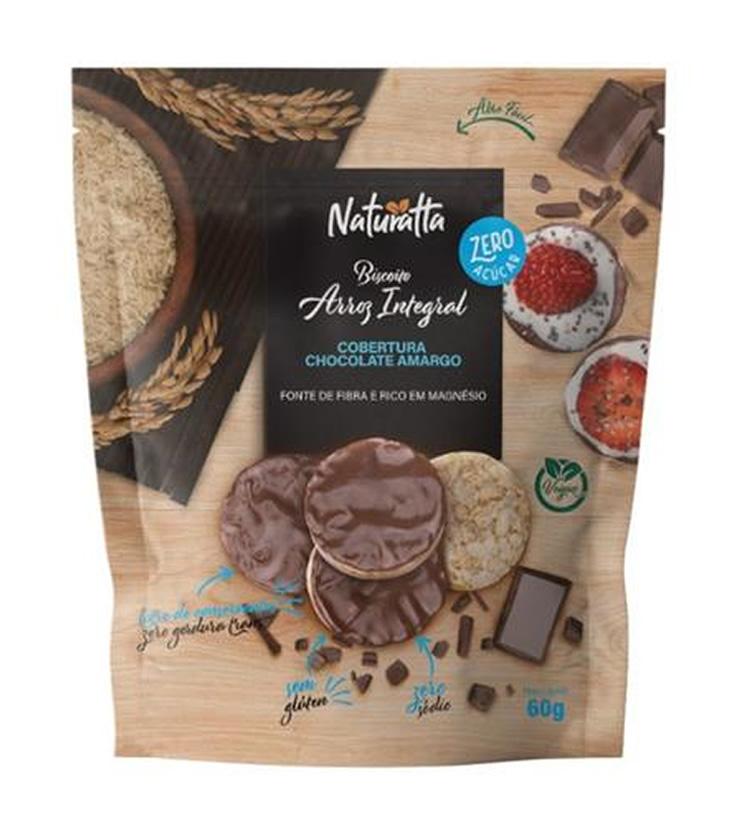 Biscoito de Arroz integral com Chocolate Amargo Zero açúcar 60g - Naturatta