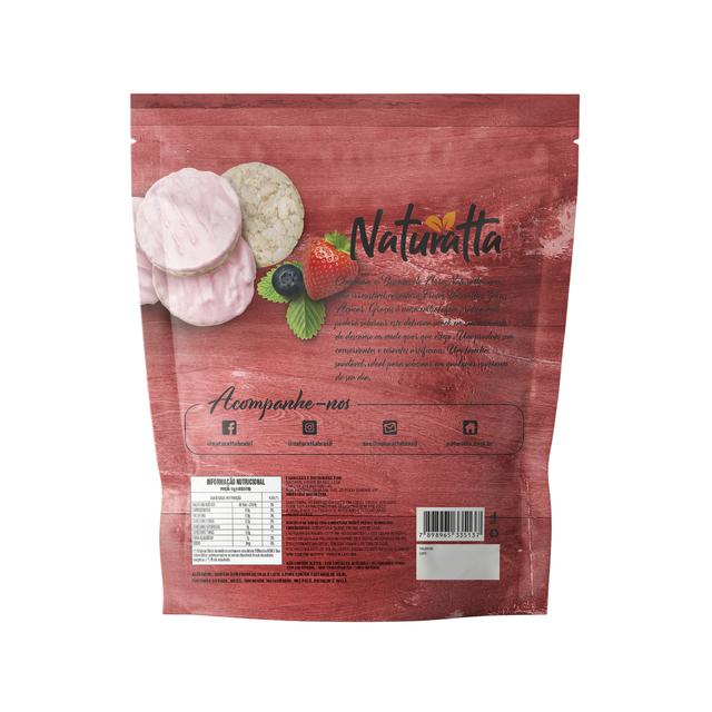Biscoito de Arroz Integral com cobertura sabor Frutas Vermelhas ZERO açúcar 60g - Naturatta