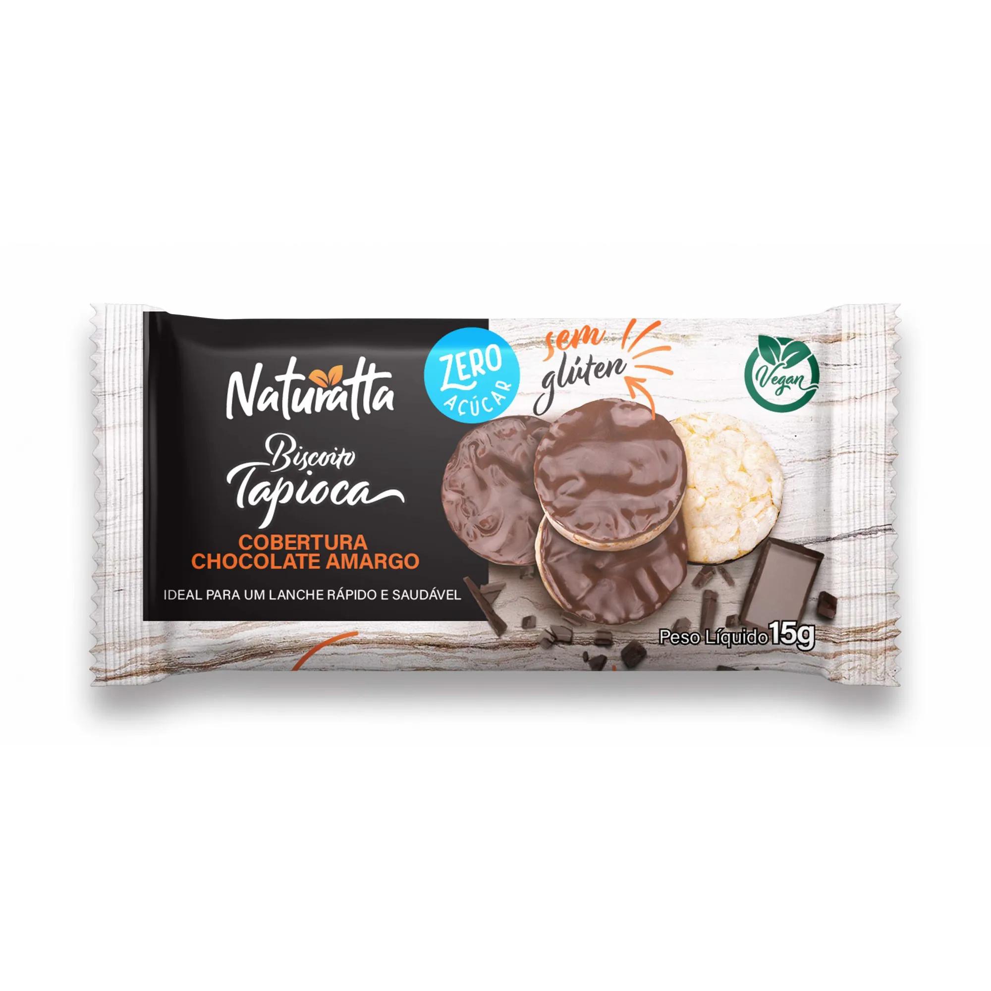 Biscoito de Tapioca com Chocolate Amargo Zero açúcar 15g - Naturatta