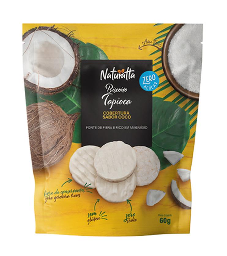 Biscoito de Tapioca com cobertura sabor Coco ZERO açúcar 60g - Naturatta