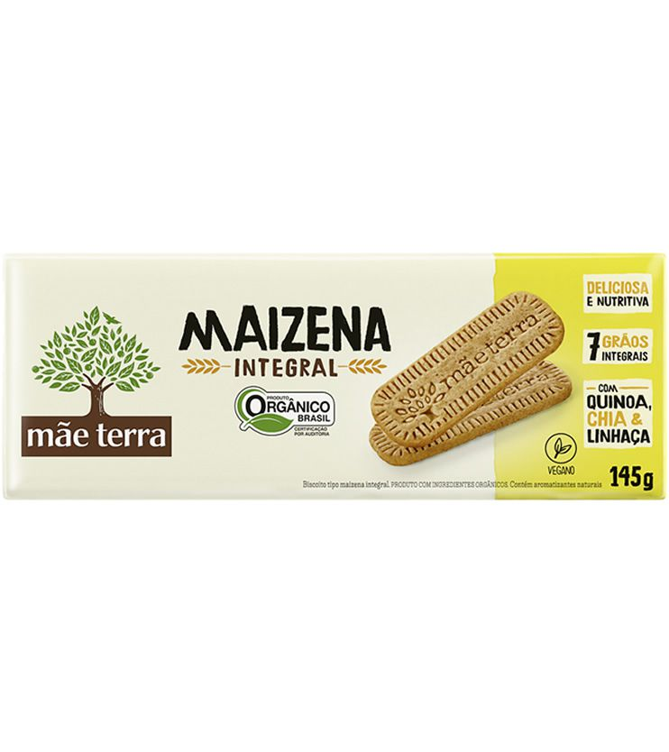 Biscoito Maizena Integral Orgânico 145g - Mãe Terra