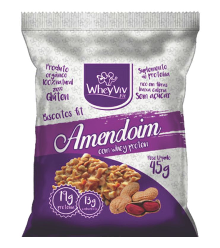 Biscoitos fit sabor Amendoim com Whey protein 45g - WheyViv Fit