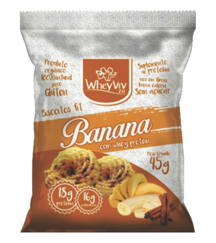 Biscoitos fit sabor Banana com Whey protein 45g - WheyViv Fit