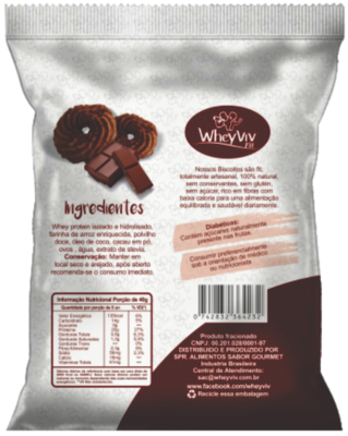 Biscoitos fit sabor Chocolate com Whey protein 45g - WheyViv Fit
