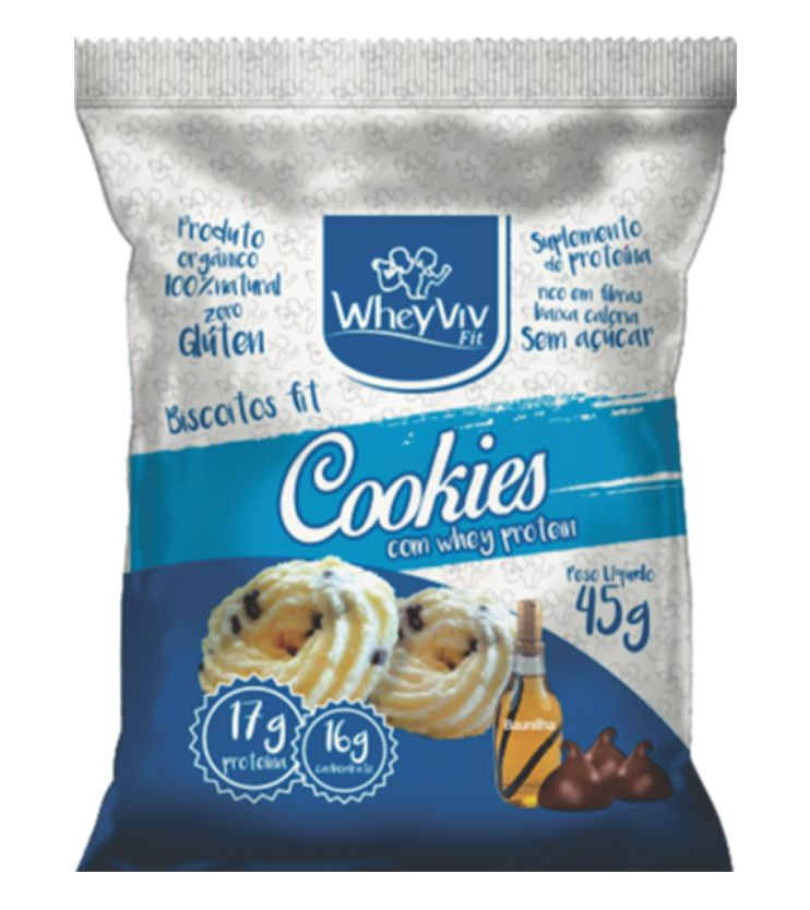 Biscoitos fit sabor Cookies com Whey protein 45g - WheyViv Fit