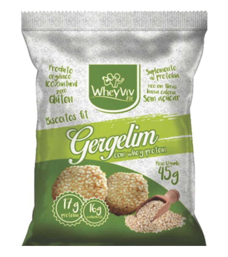 Biscoitos fit sabor Gergelim com Whey protein 45g - WheyViv Fit