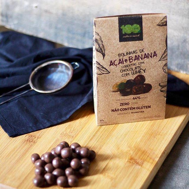 Bolinhas de Açaí e Banana cobertas com chocolate com Whey 60g - 100 Foods