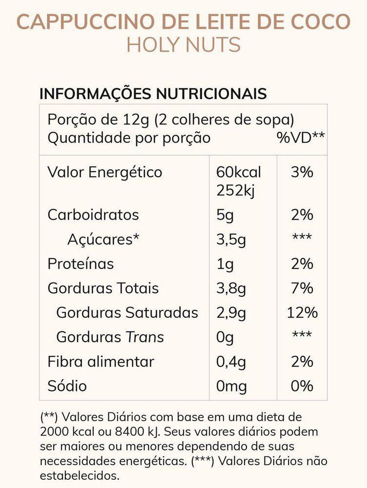 Cappuccino Vegano Leite de Coco Café 100% arábica e Canela 120g - Holy Nuts
