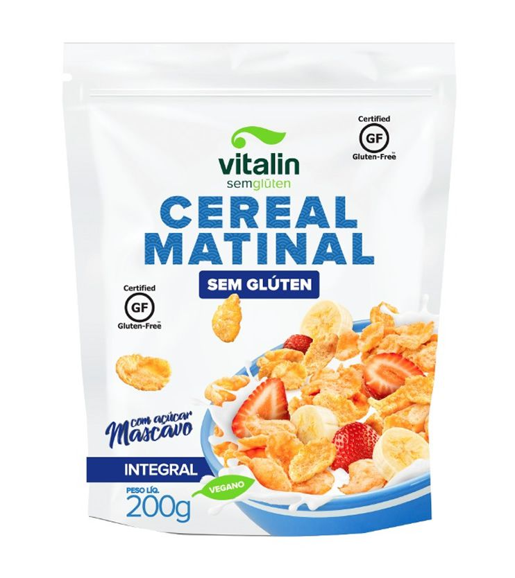 Cereal Matinal com açúcar mascavo Sem glúten 200g - Vitalin Sem glúten