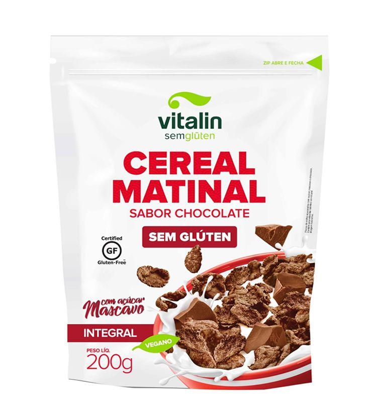Cereal Matinal sabor Chocolate com açúcar mascavo Sem glúten 200g - Vitalin Sem glúten