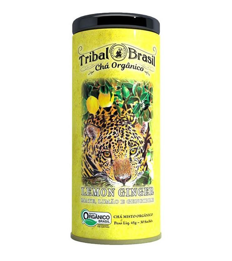 Chá Orgânico Lemon Ginger lata 30 sachês 60g - Tribal Brasil