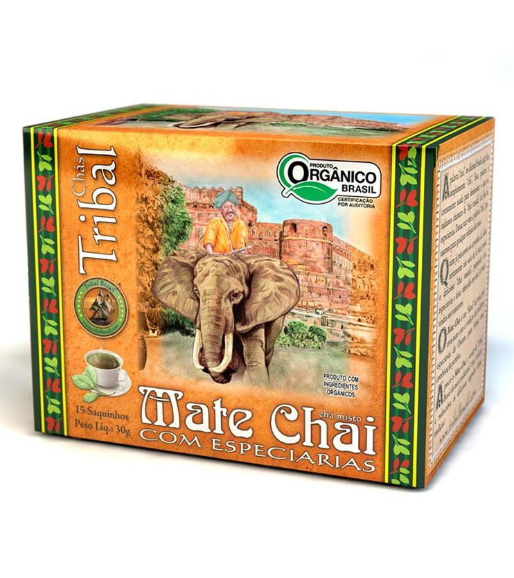 Chá Orgânico Mate Chai com especiarias 15 saquinhos 30g - Tribal Brasil