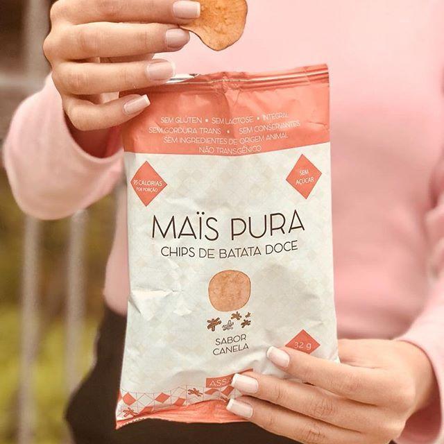 Chips de Batata doce Assado sabor Canela 32g - Mais Pura