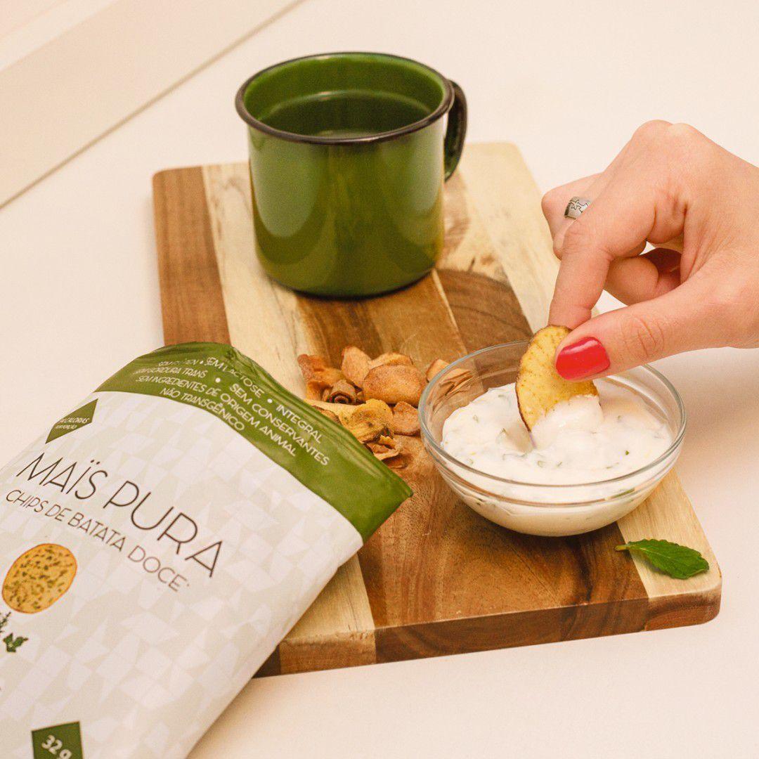 Chips de Batata doce Assado sabor Ervas Finas 32g - Mais Pura