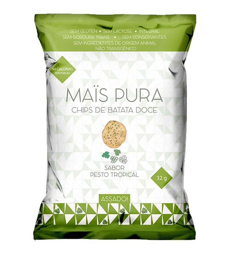 Chips de Batata doce Assado sabor Pesto Tropical 32g - Mais Pura