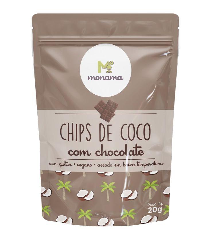Chips de Coco com Chocolate 20g - Monama