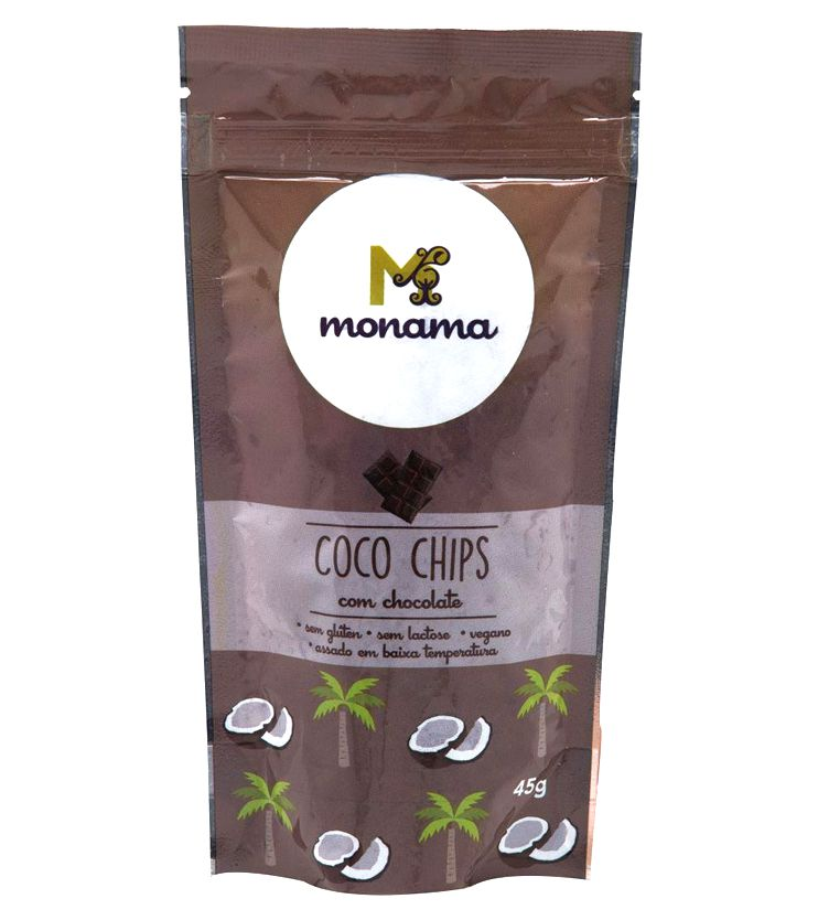 Chips de Coco com Chocolate 45g - Monama