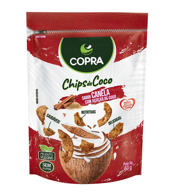 Chips de Coco Orgânico com Açúcar de coco e Canela 60g - Copra