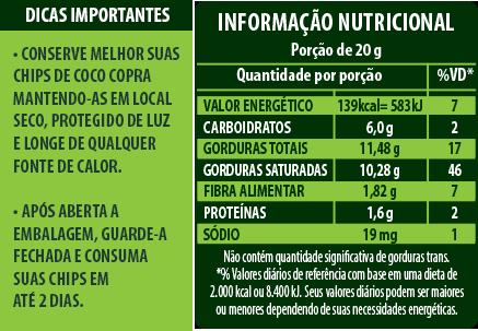Chips de Coco Orgânico com Açúcar de coco e Gengibre 60g - Copra