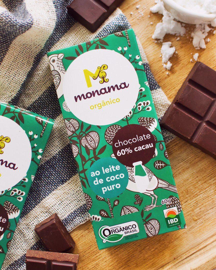 Chocolate 60% Orgânico ao Leite de Coco 60g - Monama
