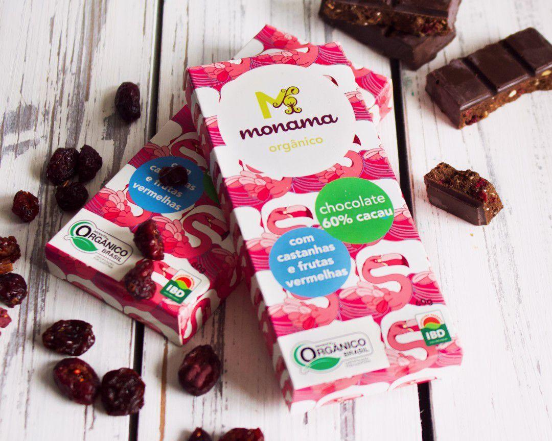 Chocolate 60% Orgânico Castanhas, Cranberry e Blueberry 60g - Monama