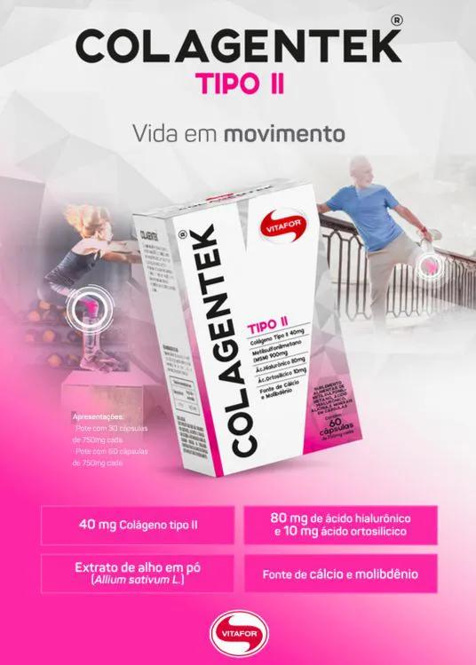 Colagentek - Colágeno tipo II 60 Cápsulas - Vitafor