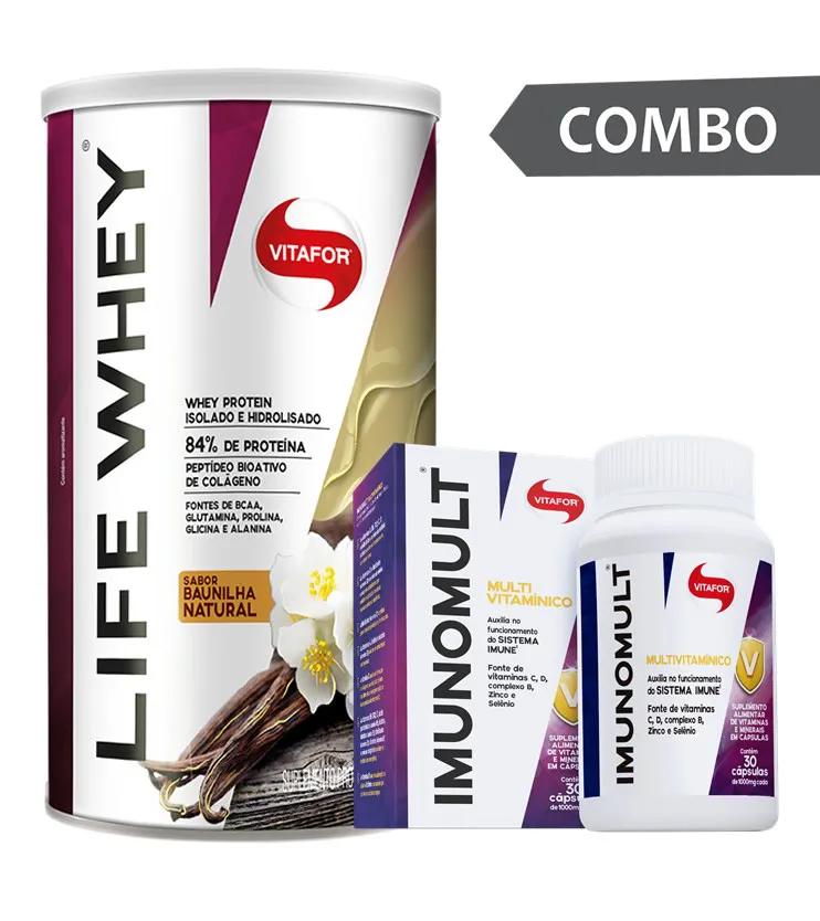 COMBO - Life Whey Baunilha 450g + Imunomult 30 cápsulas - Vitafor