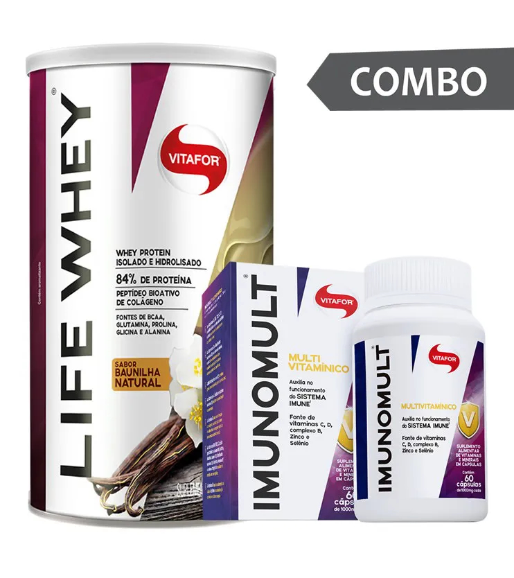 COMBO - Life Whey Baunilha 450g + Imunomult 60 cápsulas - Vitafor