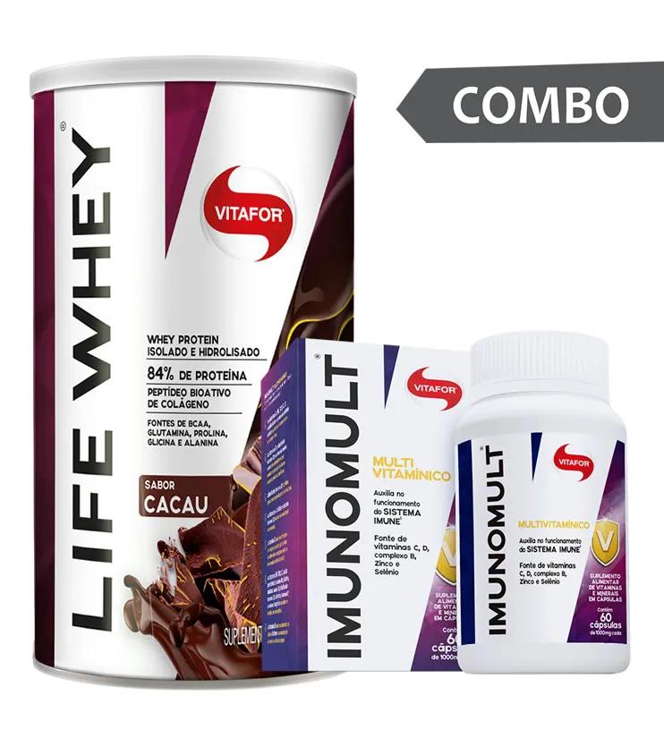 COMBO - Life Whey Cacau 450g + Imunomult 60 cápsulas - Vitafor