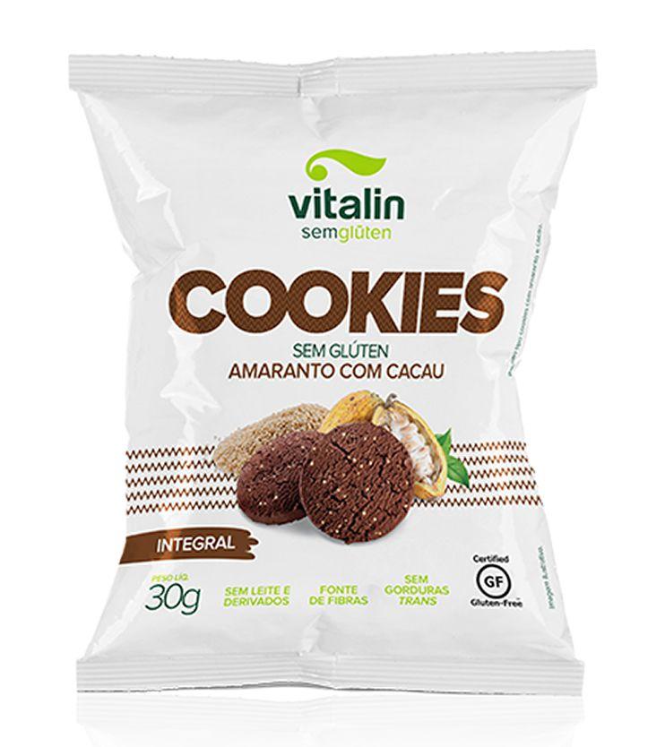Cookie Integral Amaranto com Cacau 30g - Vitalin Sem glúten