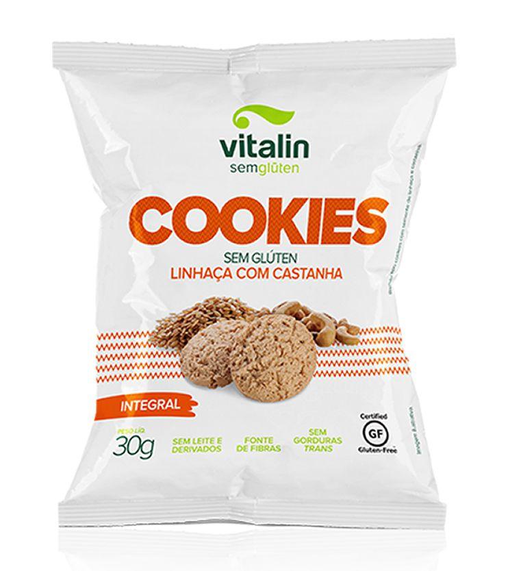 Cookie Integral Linhaça Dourada com Castanha 30g - Vitalin Sem glúten
