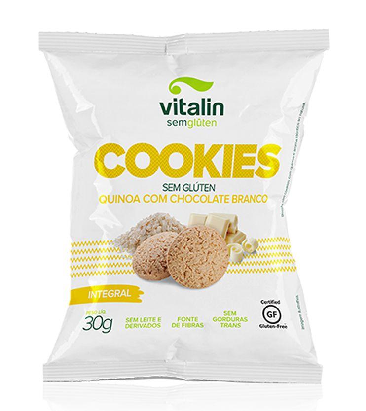 Cookie Integral Quinoa com Chocolate Branco 30g - Vitalin Sem glúten