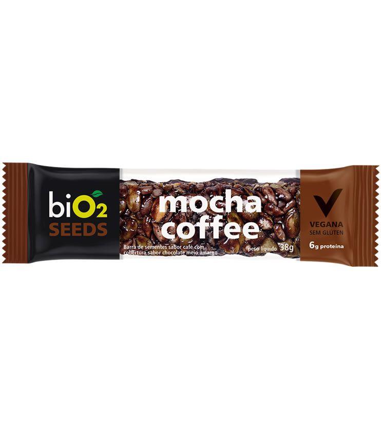 Barra de Sementes sabor Café com cobertura sabor chocolate meio amargo 38g - biO2