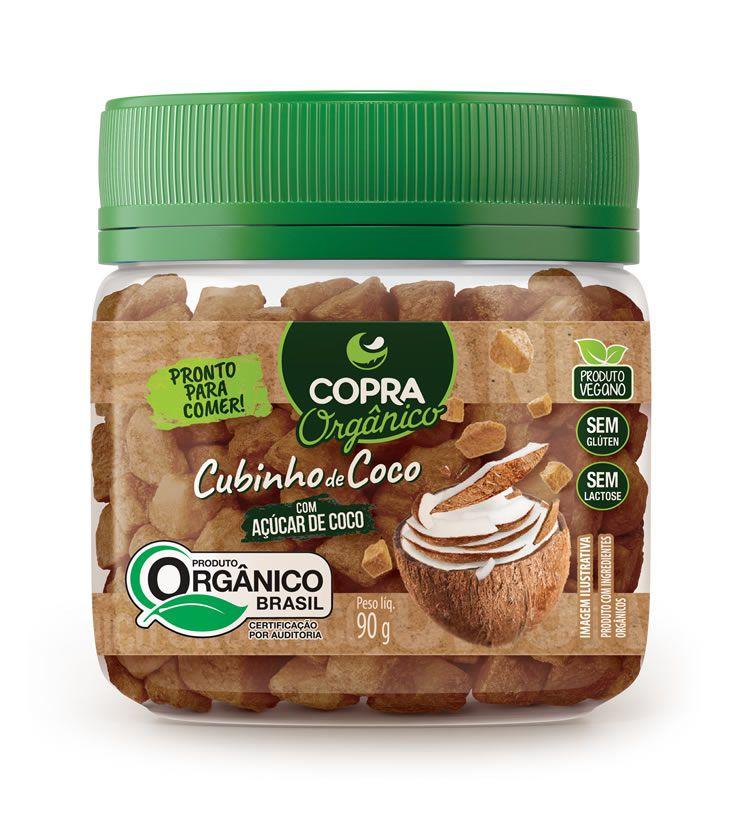 Cubinhos de Coco Orgânico com Açúcar de coco 90g - Copra